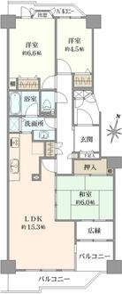 パークシティ新川崎西2番街 B棟の間取図