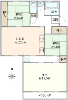 平田住宅19号棟の間取図