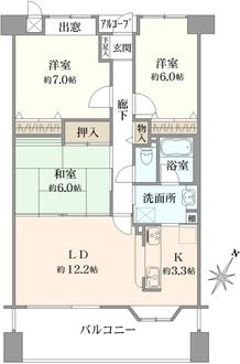 チュリス枚方・田宮本町の間取図