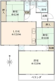 平田住宅第19号棟の間取図