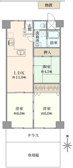 ローレルハイツ茨木総持寺第二号棟の間取図