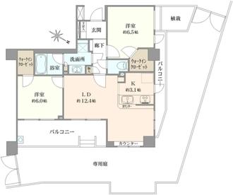 クレッセント新宿ウエストヒルズの間取図