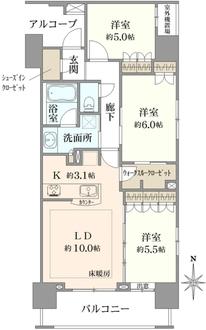 グローベル ザ・スクエア東高円寺の間取図