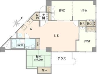 武蔵野グリーンタウンB棟の間取図