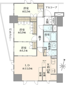 プラウド日暮里 8階の間取図