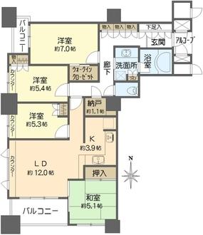 上本町ヒルズマークの間取図