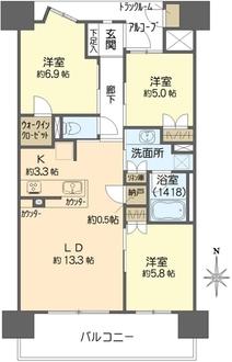 プラウド阿倍野播磨町の間取図