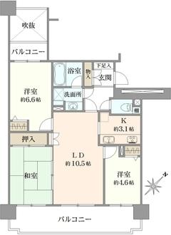 コープ野村三郷弐番館の間取図