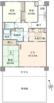 元宮町スカイマンションの間取図