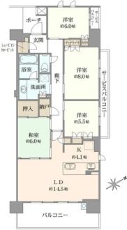 ブリリアシティ横浜磯子M棟の間取図