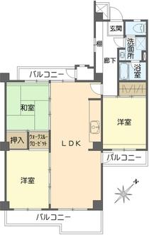 東大路高野第2住宅第14号棟の間取図