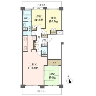 リベーラガーデンH棟(ウエストウイング)の間取図
