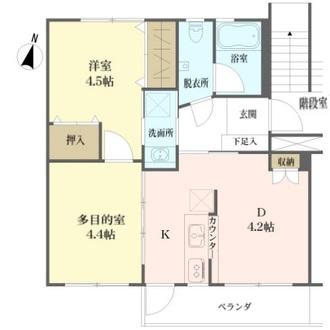 上平間住宅の間取図