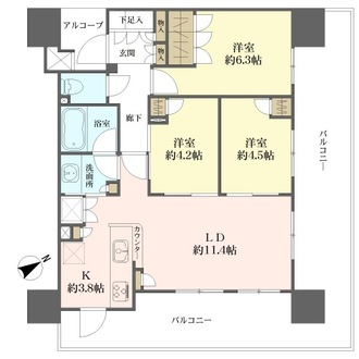 パークホームズ横濱磯子の間取図