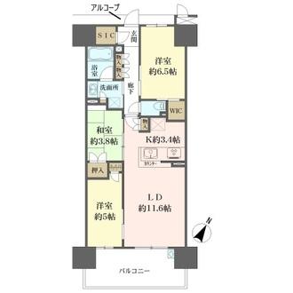 ローレルコート栂・美木多駅前の間取図