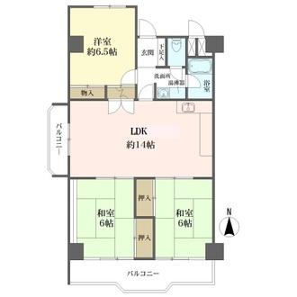 阪急南茨木ハイタウン東奈良高層住宅F棟の間取図