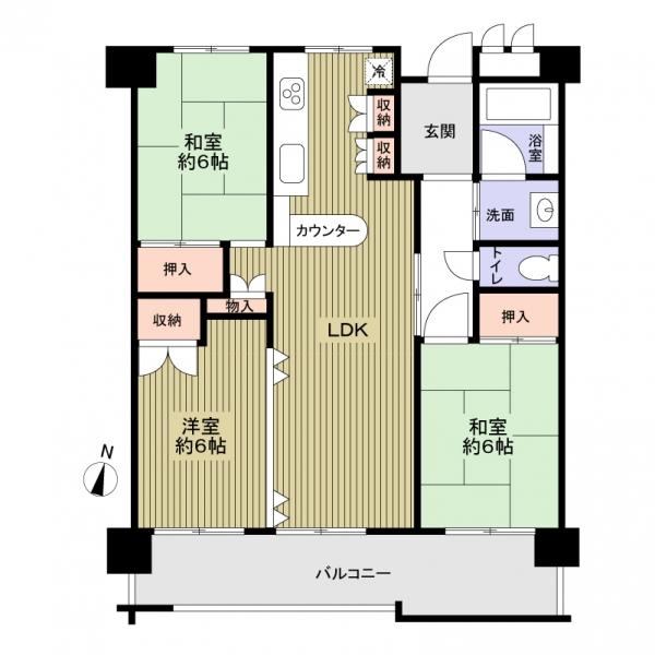 島田橋住宅3号棟の間取図