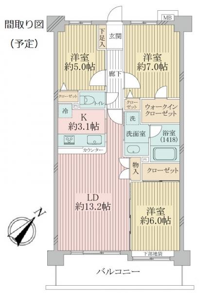 ライオンズマンション日吉ガーデンシティの間取図
