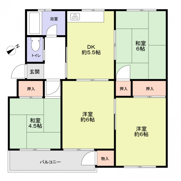 神陵台北住宅66号棟の間取図