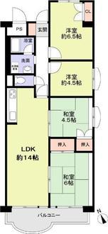 淀川パークハウスF棟(6号棟)の間取図