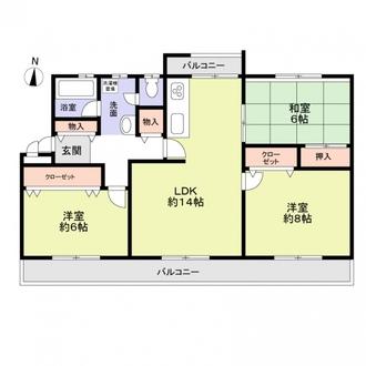 新多聞第三住宅206号棟の間取図