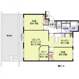 上飯田ハイツ3棟の間取図