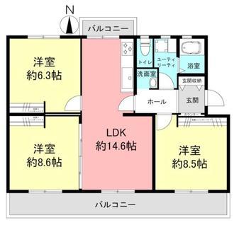 新多聞第三住宅213号棟の間取図