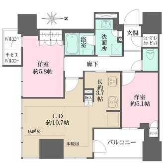 ローレルタワー御堂筋本町の間取図