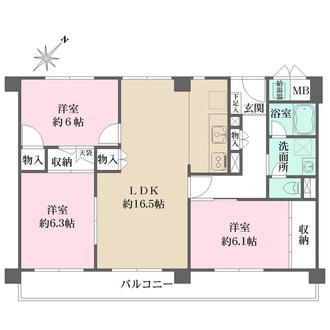 甲東園パークマンションの間取図