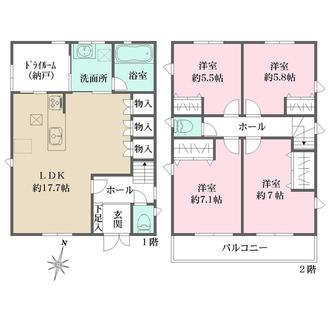 新築戸建(御影山手6丁目) A号地の間取図