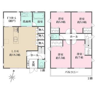 築戸建(御影山手6丁目) B号地の間取図