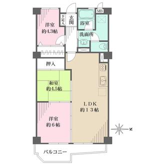 岡本センチュリーマンションの間取図