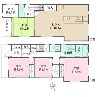 センシア神戸西舞子A号地の間取図