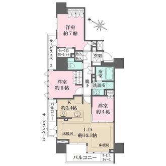 ザ・パークハウス神戸三宮の間取図