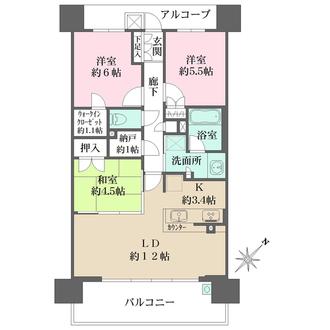 ザ・パークハウス尼崎潮江ガーデンの間取図
