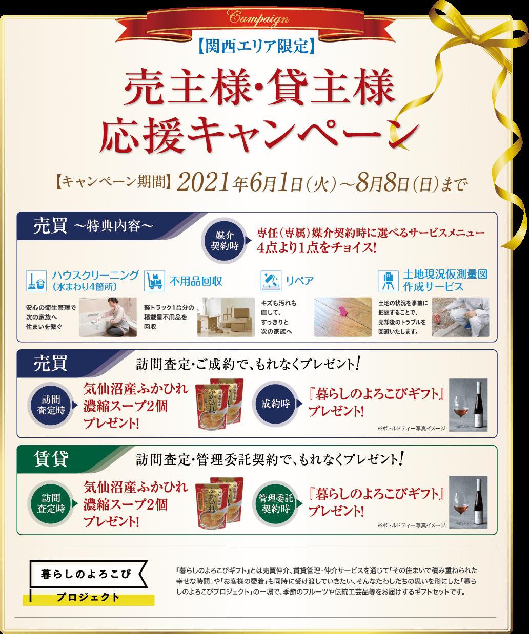 【売主様・貸主様応援キャンペーン<関西エリア限定>】キャンペーン期間:2021年6月1日(火)→2020年8月8日(日)まで