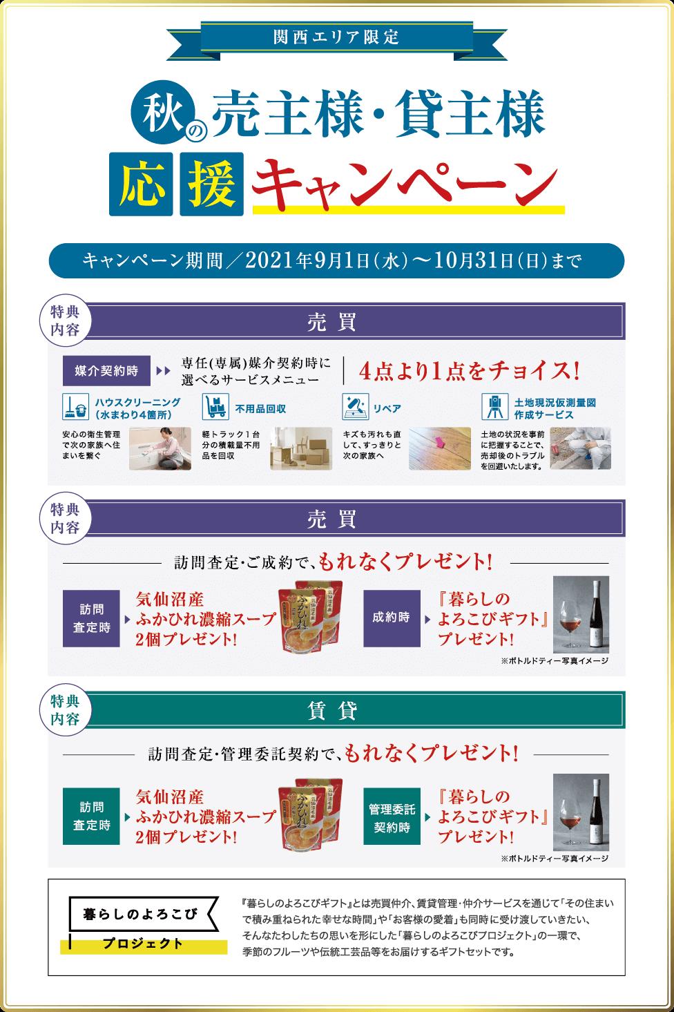 関西エリア限定 秋の売主様・貸主様応援キャンペーン2021年9月1日~10月31日